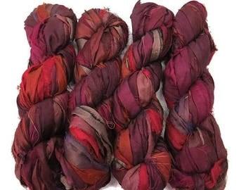 SALE New! Premium  Iridescent Sari Silk  Ribbon yarn , 100g (50 yards) color Merlot