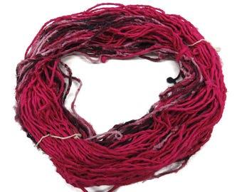 Hand spun Sari Silk Chiffon cording Yarn , 100g per skein