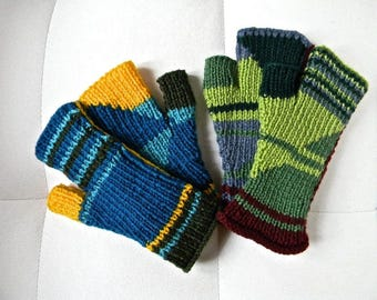 Blue or green 01 and 02 mittens dominant acrylic yarn