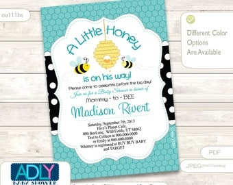 Editable Turquoise Gender Neutral Bee Baby Shower invitation. A Little Honey is on the way invitation, yellow, black - ao10bs
