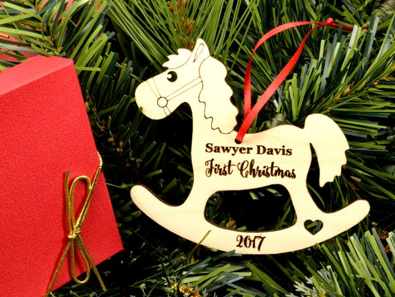 Wooden Rocking Horse Ornament Personalized Wood Christmas