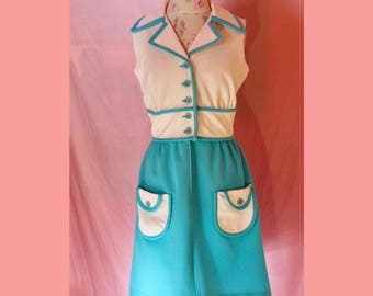 60s mod mad men blue and white dress