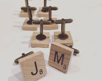 Customizable cuff links - wood spirit scrabble letters-