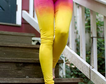 Strawberry Lemonade, Yellow and Pink Tights, Summer Leggings, Ombeautiful, Festival Leggings, Ombre Tights, Burning Man Clothing
