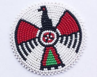 2 . 5 inch Thunderbird WHITE Beaded Rosette