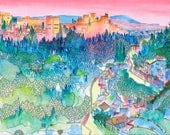 Alhambra Print XL (A2): Alhambra View from Sacromonte, Granada, Spain