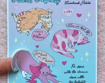 Whatever Cat Vinyl Sticker Sheet - Lovestruck Prints