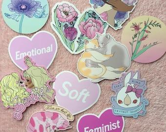 Softie sticker pack - Choose 3! - cozy cats - together vinyl sticker - cry baby - Lovestruck Prints
