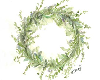 Spring wreath (original watercolor)