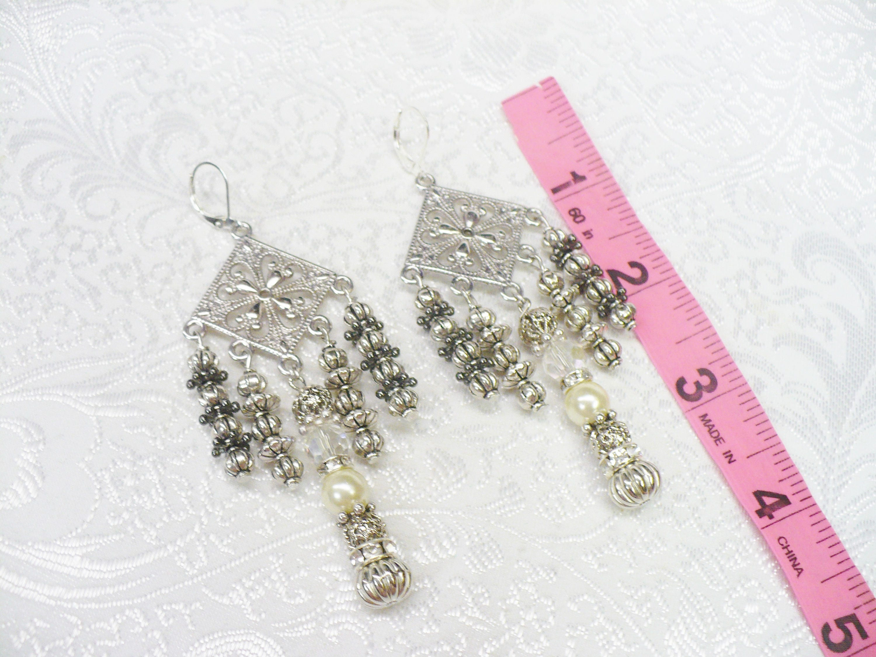 Ooak vintage silver rhinestone pearl chandelier earrings silver ooak vintage silver rhinestone pearl chandelier earrings silver tone metal lever back ear wire arubaitofo Image collections