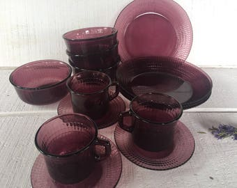 Vintage purple glass dinnerware, amethyst dinner plate, soup bowl, salad plate, cup and saucer, Forte Crisa Reflections Mexico dinnerware,