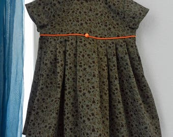 Baby dress in green cotton piping with dark orange - 2 years