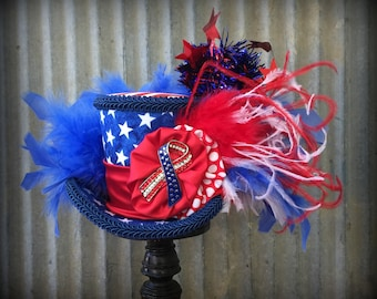 Mini Top Hat, Patriotic Hat, 4th of July, Red white and blue hat, Alice in Wonderland Mini Top Hat, Stars, Mad Hatter Hat, Fireworks hat