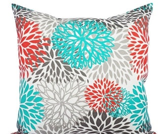 15% OFF SALE Indoor Outdoor Pillows   Two Turquoise And Orange Throw Pillow  Covers