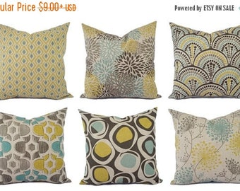 15% OFF SALE Decorative Pillow Yellow Blue And Beige   Decorative Pillow    Brown Blue