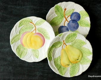 Majolica Summer Fruit Plates 3 White hand painted  Japan 1980 Fruit Du Jour Shafford style Peaches Pears Plums Farmhouse Kitchen Wall Art