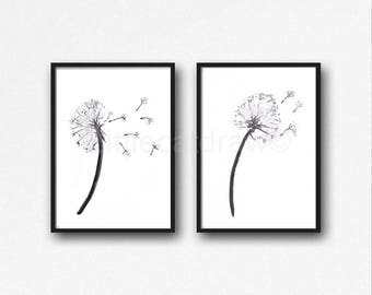 Dandelion Print Set Of 2 Watercolor Painting Print Home Decor Wall Art Black And White Art Print Dandelion Living Room Decor Home Decor