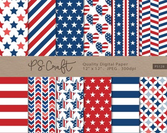 4th July digital papers, Seamless Independence day Digital Paper, Patriotic Digital Paper, Navy Blue Red Pattern