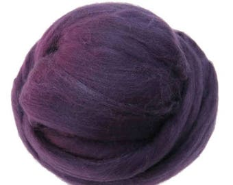 SALE Merino / Silk  Roving, (Blackberry)