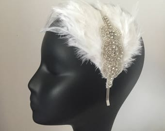 Feather Hair Clip Headband Gatsby Party Bridal Costume Evening Dress Headpiece