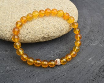 Citrine bracelet, Gold bracelet, Citrine jewelry, Gemstone bracelet, Goldenrod bracelet, Dainty bracelet, Citrine beads, Gift for her