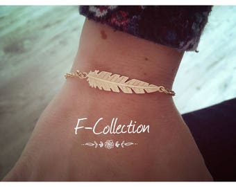Bracelet Bohemian chic feather rose gold