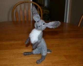 Felted Bunny, Gray Bunny, Gray Rabbit, Easter Bunny, Spring Bunny, Easter Decoration, Spring Decoration, Whimsical Bunny, Bunny Collectible