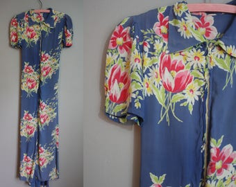 Late 1930's Rayon Gown // Floral Print // XXS