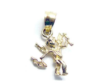 14K Gold Cupid Pendant a Yellow Gold Vintage Love Charm - Cupid with Arrow Petite Pendant