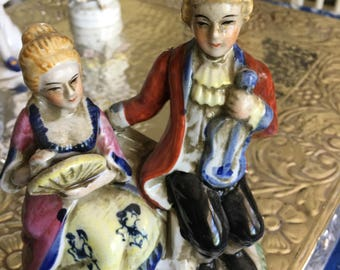 Vintage Colonial Couple on Settee Porcelain Knick Knacks Figurines Romantic Marie Antoinette era