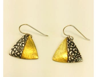 Gold plated and sterling silver metal clay triangular earrings