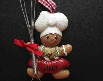 Gingerbread Baking Personalized Christmas Ornaments / Baking Whisk / Ornaments for kids