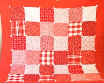Vintage Red White Patchwork Quilt, Small Handmade Throw or Picnic Blanket, Checkers Gingham Polka Dots, Country Farmhouse
