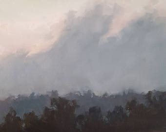 Dusky Evening Sky Over the Tree Line- Original Landscape Oil Painting- Nature Art- Minimalist Small Outdoor Painting- One of a Kind