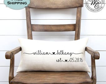 Wedding Gift Gifts Personalized Pillow Newlywed Engagement Rustic