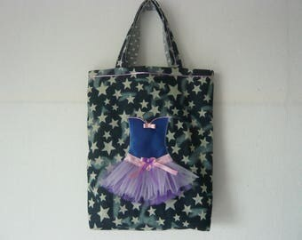 """Bag """"tutu"""" in a denim fabric with stars with a tutu and tulle strapless"""