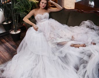 """Luxury Wedding Dress with Cathedral Train, Tulle A-line Wedding Dress """"Cler"""", Lace Wedding Dress, Tulle Wedding Dress, Romantic wedding gown"""