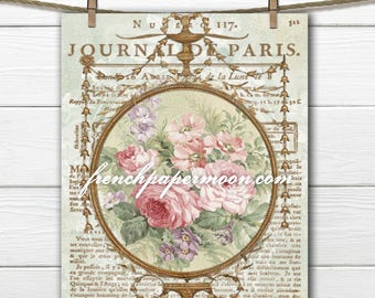 Digital Shabby French Roses with Antique French Script, Large Image, Fabric Transfer, Iron on Fabric