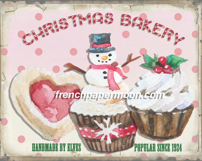 Shabby Pink Christmas Bakery Instant Digital Download Printable Cupcake Graphic Art Transfer Image