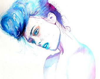 Original Watercolor Painting. Portrait of young lady. Woman. Music in her flesh. Almost blue.