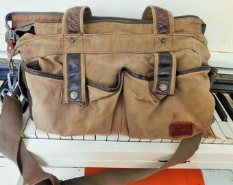 Vintage, Canvas Fishing Bag, Leather Accents, Shoulder Strap