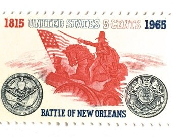10 Vintage Red and White Postage Stamps // Battle of New Orleans // Vintage 1965 Stamps for Mailing
