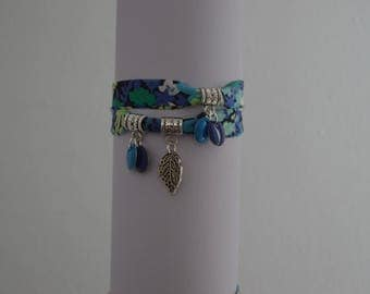 """Nina"" Liberty bracelet double turn and sequins enamelled"