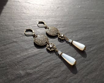 "Earrings ""Rania"" Czech glass and Crystal white beads"