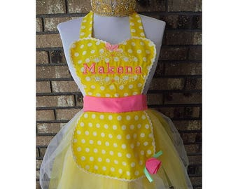 Personalized Princess Inspired Dress Up Play Apron and Crown by Thimbleful Threads