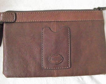 FOSSIL BROWN LEATHER Clutch,Brown Wallet,Brown Leather Cosmetic Case,Vintage Clutch,Ladies Accessories,Unisex Leather Pouch,Handbags Purses
