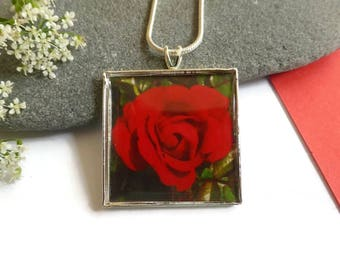 Red Rose Jewelry, Red Rose Pendant, Red Rose Necklace, Romantic Jewelry, Original Photography, Handmade Jewelry, Square necklace, For Her