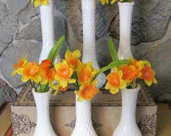 Set of 6 High Low Vintage Milk Glass Bud Vases - Instant Collection - Various Manufacturers