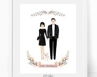 Digital Custom portrait illustration wedding portrait personalized sketch wedding bridesmaid gift wed illustration printable print wall art