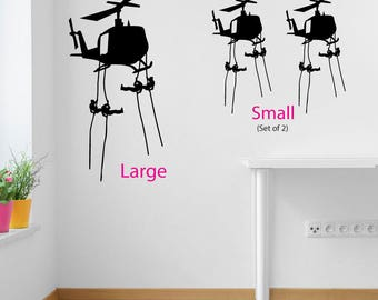 Helicopter and Soldiers Wall Sticker A99